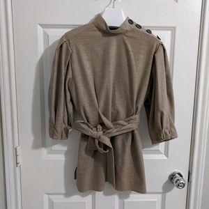 Zara Woman Heather Mock Neck Wool Blend Blouse S